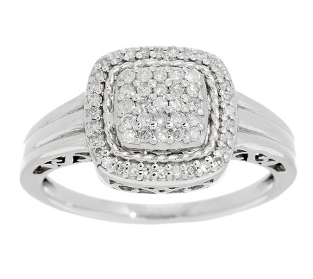Pave' Round or Cushion Diamond Ring, Sterling, 1/4 cttw, by Affinity