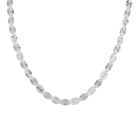 "UltraFine Silver 16"" Diamond Cut Starburst Link Necklace, 12.0g"