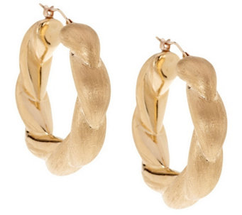 """As Is"" Oro Nuovo 1-1/4"" Satin Twist Hoop Earrings, 14K Gold - J292643"