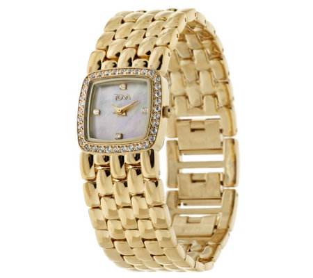 """As Is"" TOVA Diamonique_1/2 ct tw Panther Link Watch"
