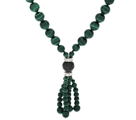 Judith Ripka Sterling Malachite and Diamonique Necklace