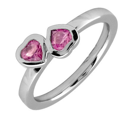 Simply Stacks Sterling & Pink Tourmaline Double-Heart Ring