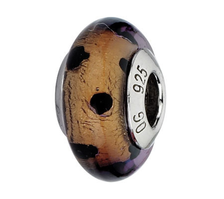 Prerogatives Brown with Black Dots Italian Murano Glass Bead