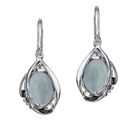 Hagit Gorali Sterling Milky Aquamarine Dangle Earrings