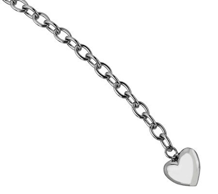 "Stainless Steel 8-1/2"" Polished Link with HeartBracelet"