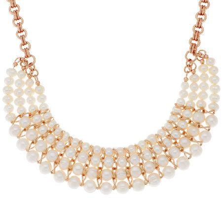 Honora Cultured Pearl Graduated Multi-strand Bronze Necklace