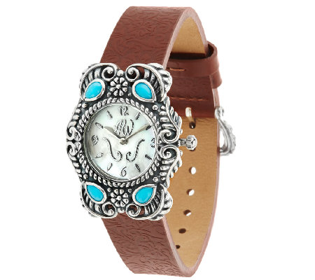 Sleeping Beauty Turquoise Leather Strap Watch by American West