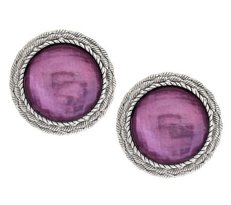 """As Is"" Judith Ripka Sterling Gemstone Doublet Button Earrings"