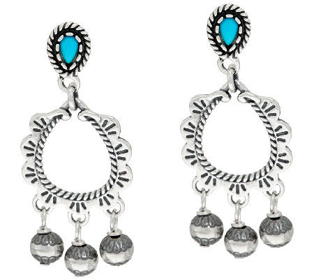 Sleeping Beauty Turquoise Sterling Silver Earrings by American West