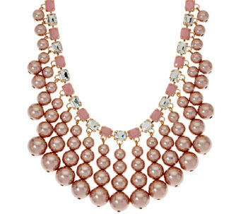 Isaac Mizrahi Live! Simulated Pearl Drop Necklace - J321643