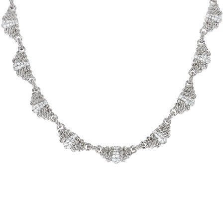 Judith Ripka Sterling Pave' Diamonique_Link Necklace