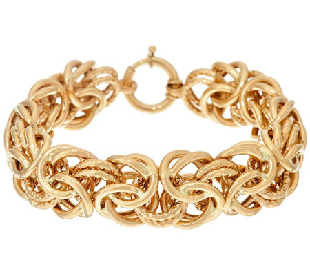"14K Gold 7-1/4"" Textured & Polished Byzantine Bracelet, 21.0g"
