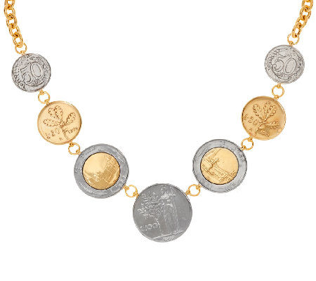 """As Is"" Veronese 18K Clad Lire Coin 18"" Necklace"