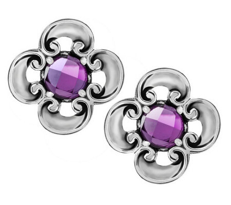 """As Is"" Carolyn Pollack London Blueor Amethyst Topaz Sterling Button Earrings"
