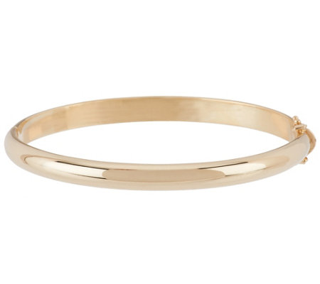 "14K Gold Solid Small 1/4"" Oval Hinged Bangle Bracelet, 30.3g"