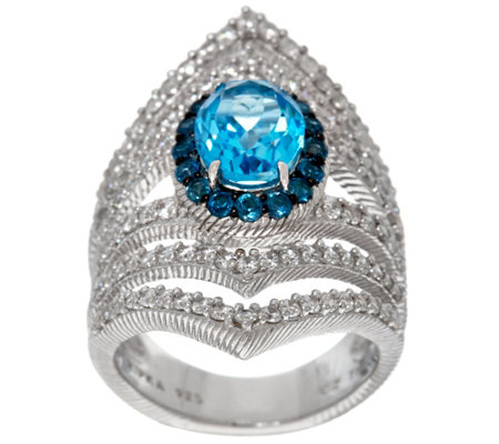 Judith Ripka Sterling Blue Topaz 2.15 cttw Ring