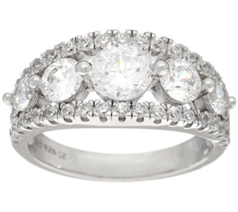 Diamonique 100-Facet 5-Stone Ring, Platinum Clad - J328943