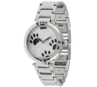 """As Is"" Stainless Steel Black Crystal Paw Print Round Case, Watch - J329043"