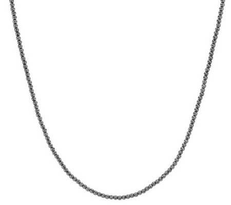 """As Is"" Vicenza Silver Sterling 24"" Faceted Diamond Cut Bead Necklace"