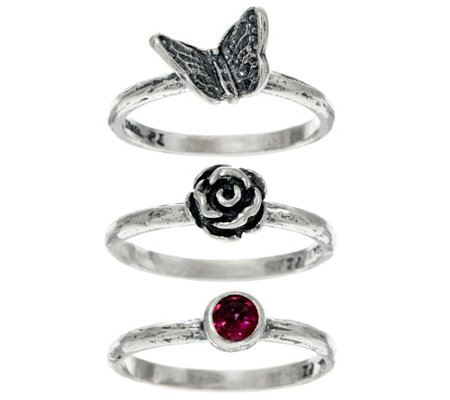 Or Paz Sterling Silver Set of 3 Stack Rings