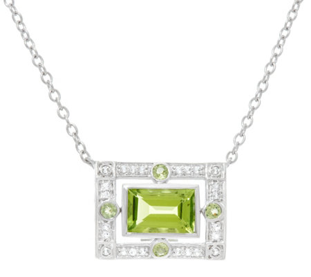 Jane Taylor Emerald Cut Gemstone Sterling Necklace