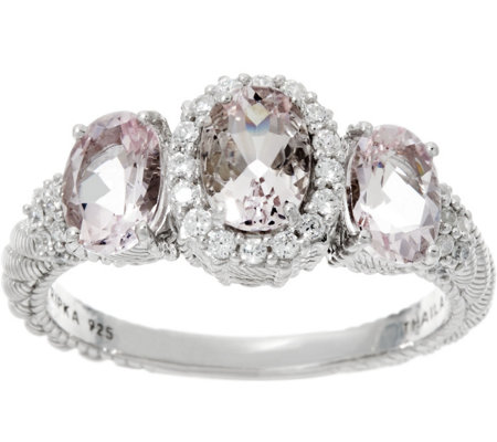 Judith Ripka Sterling Silver 1.70 cttw Morganite Three Stone Ring