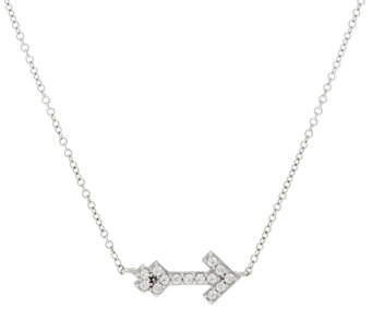 Diamonique Bitty Arrow Pendant, Sterling, Boxed - J333643