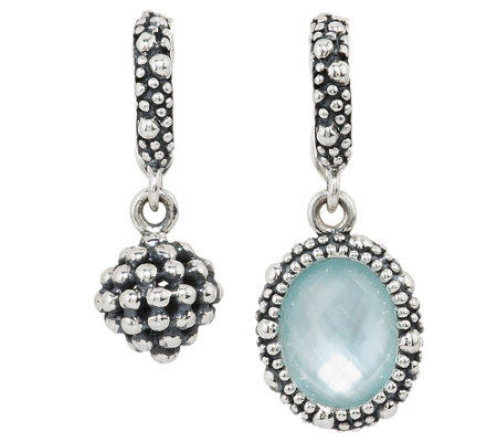 """As Is"" Michael Dawkins Sterling Blue Topaz Set of 2 Beaded Charms"