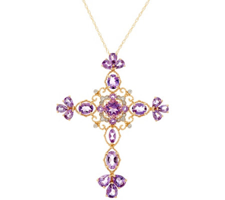 "Amethyst or London Blue Topaz Cross Pendant on 18"" Chain, 14K Gold"