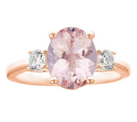 Premier 2.25ct Morganite & 3/10cttw Diamond Ring, 14K