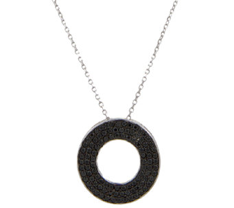 Vicenza Silver Sterling Black Spinel CirclePendant w/Chain - J337643