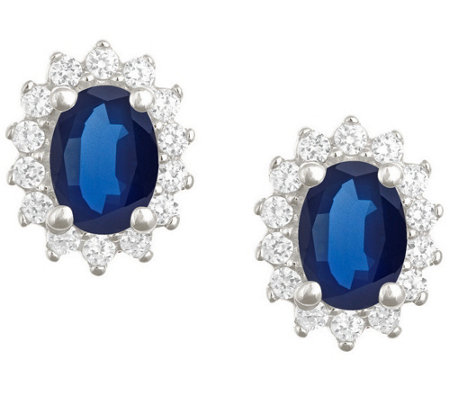 Premier 7x5mm Oval Sapphire & Diamond Earrings,14K