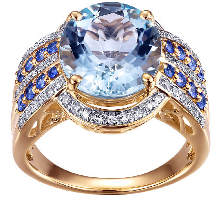 4.40cttw Aquamarine & Sapphire Ring w/Diamond Accents, 14K
