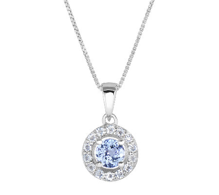3/4cttw Tanzanite & White Topaz Halo Pendant w/Chain, Sterlin