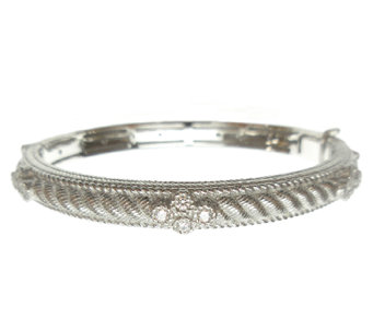 Judith Ripka Sterling Diamonique & Textured Hin ged Bangle - J339543