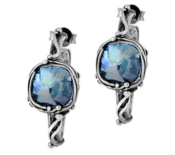 "Sterling Roman Glass 1"" Hoop Earrings by Or Paz - J340043"
