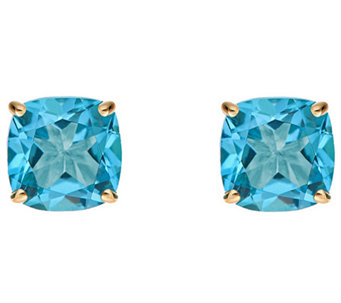 2.90cttw Blue Topaz Cushion Basket Stud Earring, 14K Gold - J340343