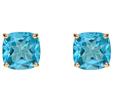 2.90cttw Blue Topaz Cushion Basket Stud Earring, 14K Gold