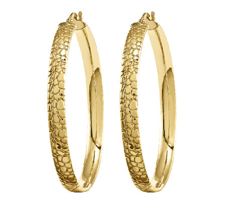 Polished Cobblestone Hoop Earrings, 14K YellowGold