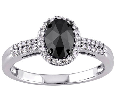 Oval Black Halo Diamond Ring, 14K Gold, 1cttw,by Affinity