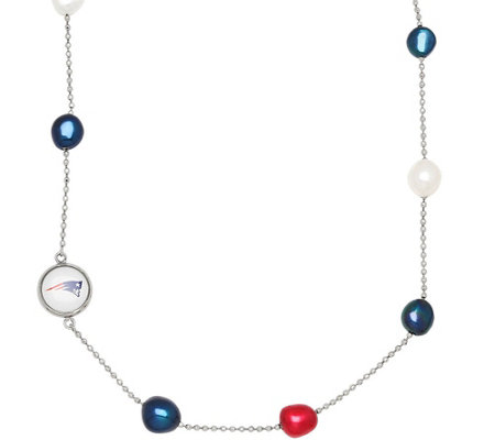 Honora NFL Stainless Baroque Cultured Pearl Station Necklace
