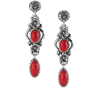 American West Sterling Red Coral Floral DropEarrings - J341143