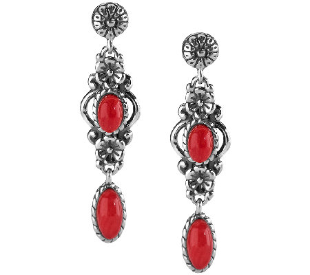 American West Sterling Red Coral Floral DropEarrings