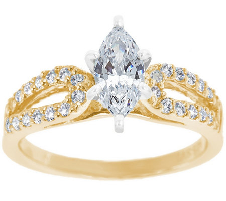 Curved Diamond Ring, 14K Gold 1/2 cttw, by Affinity