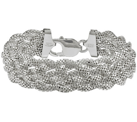 "Sterling Mesh 5-Strand Braided 7-3/8"" Braceletby Silver Style"