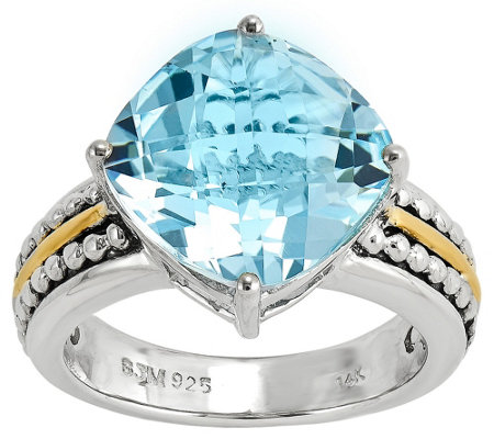 Sterling and 14K Gold 7.85 ct Blue Topaz Ring