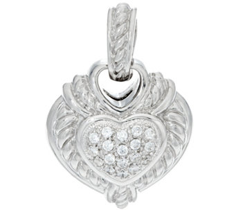 Judith Ripka Sterling & Diamonique Reversible Heart Enhancer - J343043