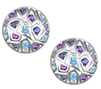Franco P Sterling 1.30 cttw Multi-Gemstone Button Earrings - J343543