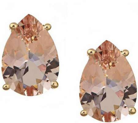Pear Shaped 2.50 cttw Morganite Stud Earrings,14K