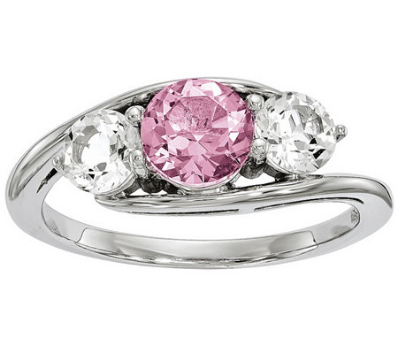 Sterling Clear & Pink Swarovski Topaz Ring